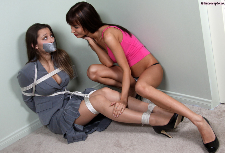 Snatched hand over mouth gagging tied up babysitter rope bondage