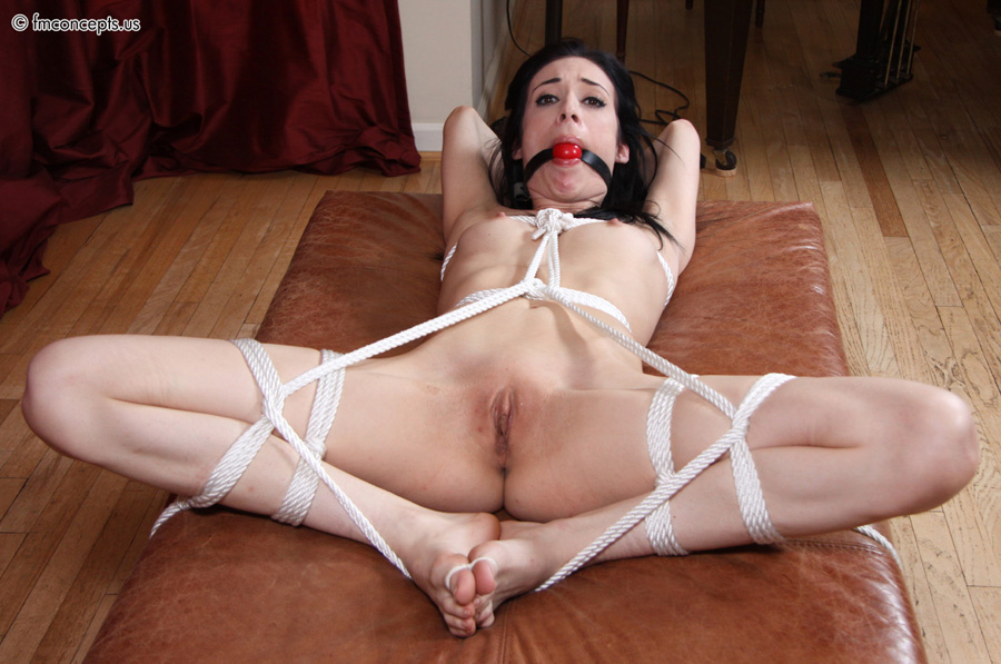 Legs spread open tied
